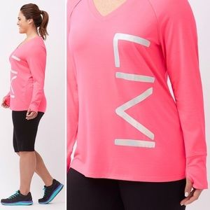 Livi Active Lane Bryant pink foiled logo top 22/24